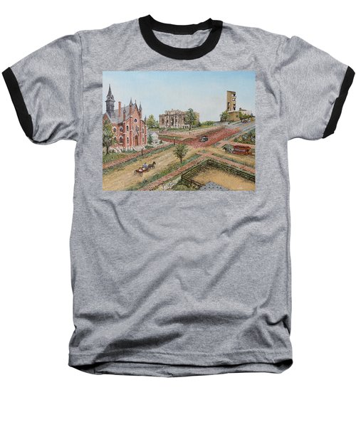 Historic Street - Lawrence Ks Baseball T-Shirt by Mary Ellen Anderson