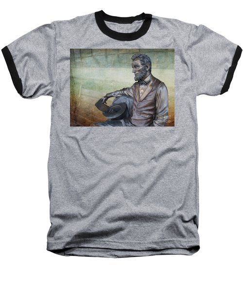 History - Abraham Lincoln Contemplates -  Luther Fine Art Baseball T-Shirt by Luther Fine Art