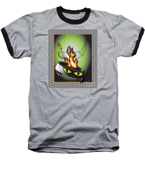 Hockey Puck In Flames Baseball T-Shirt