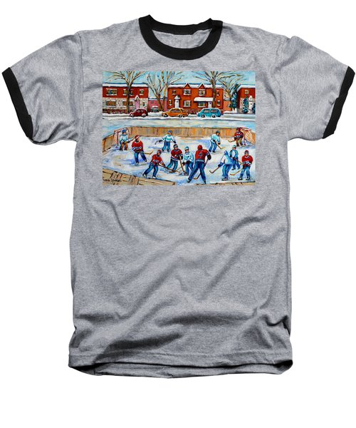 Hockey Rink At Van Horne Montreal Baseball T-Shirt