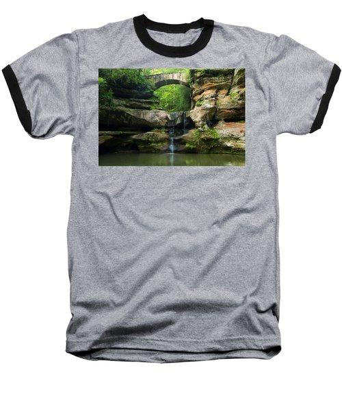 Hocking Hills Waterfall 1 Baseball T-Shirt