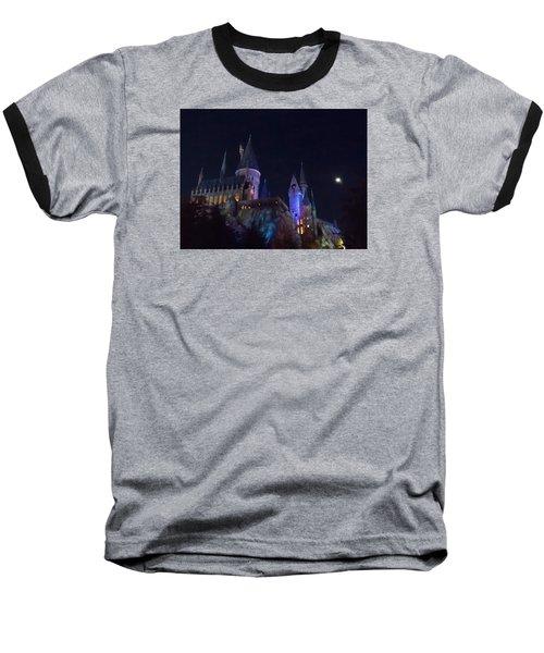 Hogwarts Castle At Night Baseball T-Shirt