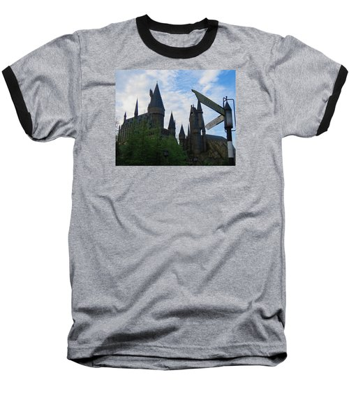 Hogwarts Castle With Signs Baseball T-Shirt by Kathy Long
