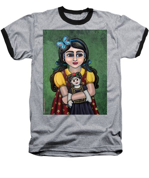Holding Frida With Butterfly Baseball T-Shirt