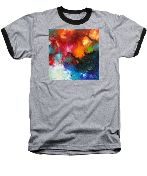 Holding The High Watch Canvas Three Baseball T-Shirt by Sally Trace