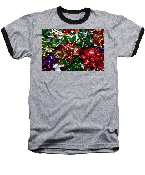 Holiday Bows Baseball T-Shirt by Denyse Duhaime