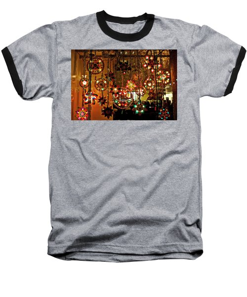 Holiday Lights Baseball T-Shirt by Suzanne Stout