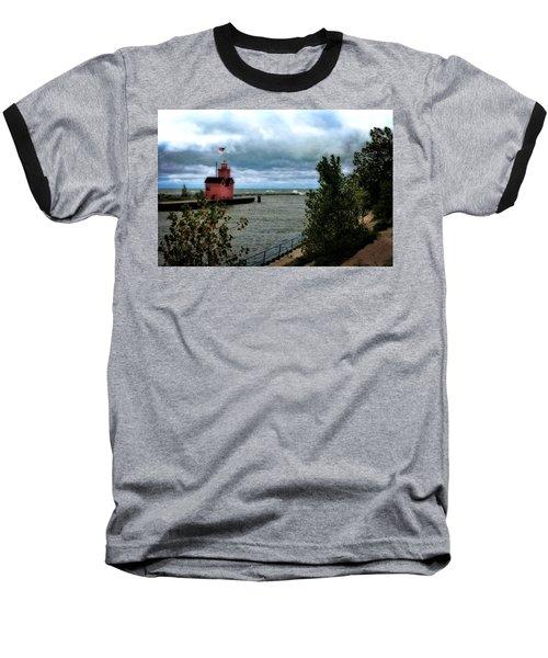 Holland Harbor Light With Big Winds Baseball T-Shirt
