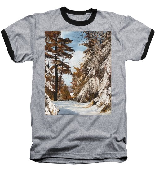 Baseball T-Shirt featuring the painting Holland Lake Lodge Road - Montana by Mary Ellen Anderson