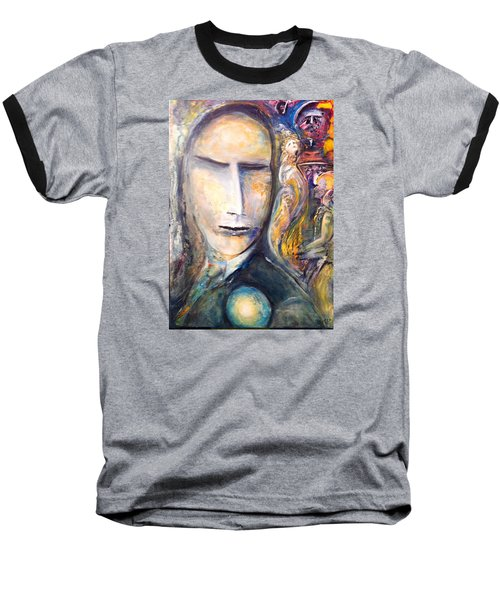 Baseball T-Shirt featuring the painting Hollow Man  by Kicking Bear  Productions