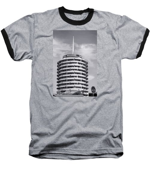 Hollywood Landmarks - Capital Records Baseball T-Shirt by Art Block Collections