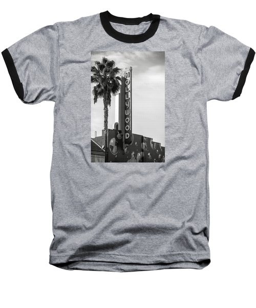 Hollywood Landmarks - Hollywood Theater Baseball T-Shirt by Art Block Collections