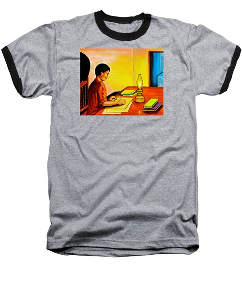 Baseball T-Shirt featuring the painting Homework by Cyril Maza