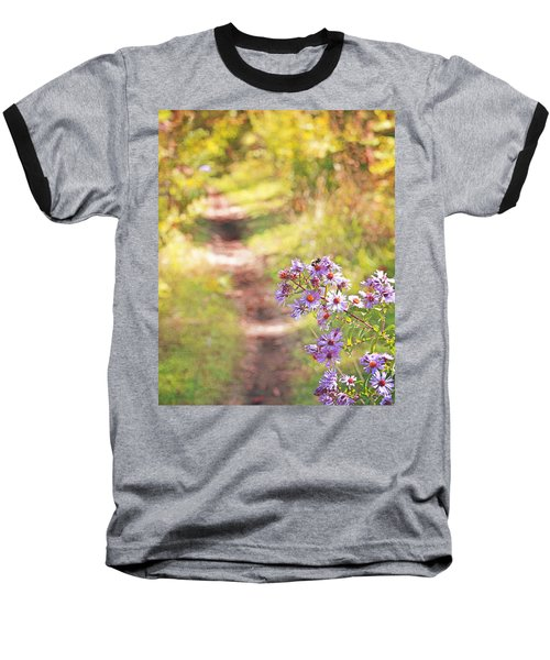 Baseball T-Shirt featuring the photograph Honey Bee On Purple Aster by Brooke T Ryan