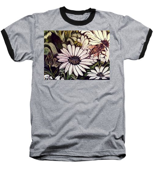 Baseball T-Shirt featuring the painting Honeybee Cruzing The Daisies by Kimberlee Baxter