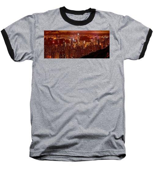 Hong Kong In Golden Brown Baseball T-Shirt