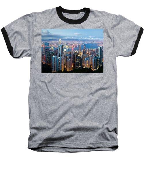 Hong Kong At Dusk Baseball T-Shirt