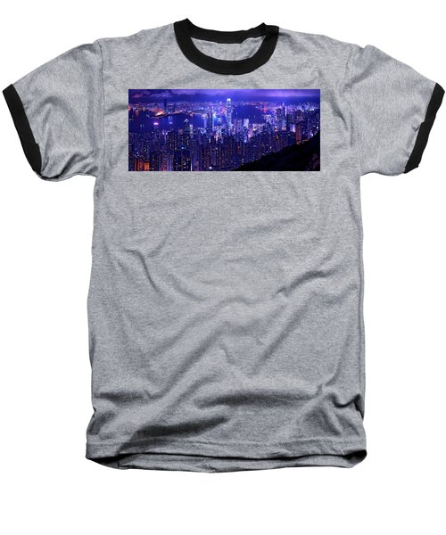 Hong Kong In Purple Baseball T-Shirt