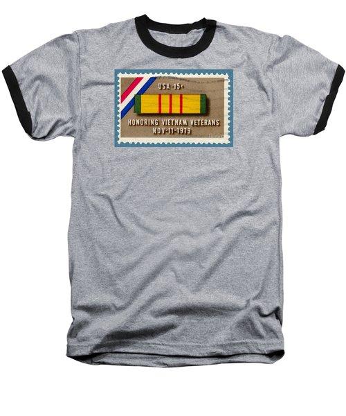 Honoring Vietnam Veterans Service Medal Postage Stamp Baseball T-Shirt by Phil Cardamone