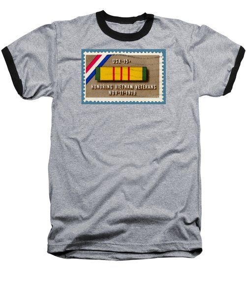 Honoring Vietnam Veterans Service Medal Postage Stamp Baseball T-Shirt