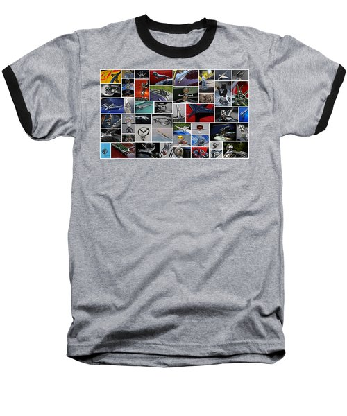 Hood Ornament Collage Baseball T-Shirt by Mike Martin
