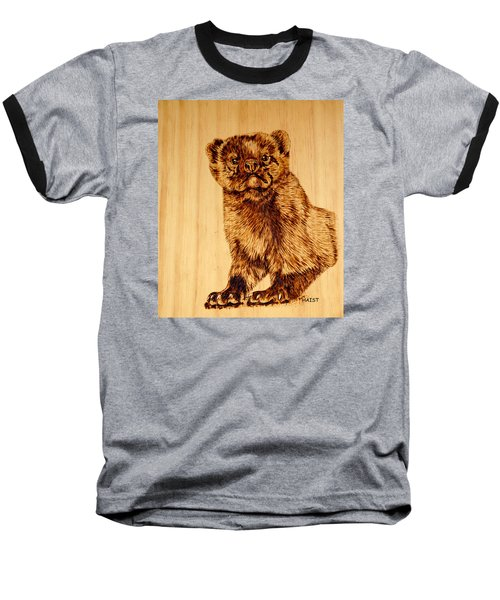 Baseball T-Shirt featuring the pyrography Hope's Marten by Ron Haist
