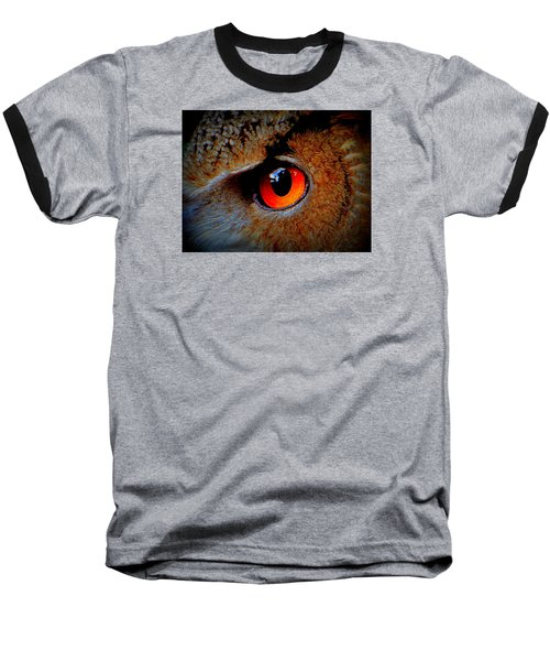 Horned Owl Eye Baseball T-Shirt