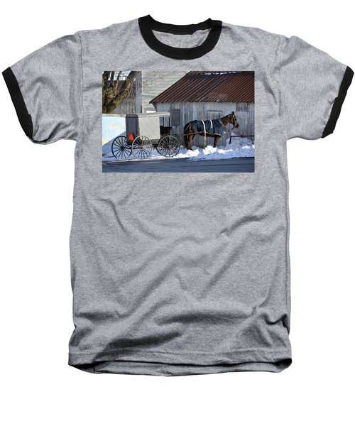 Horse And Buggy Parked Baseball T-Shirt