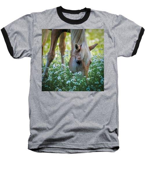 Horse And Daisies Baseball T-Shirt