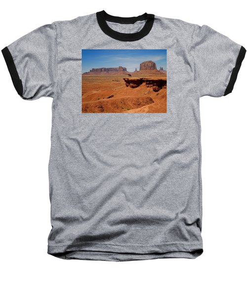 Horse And Rider In Monument Valley Baseball T-Shirt