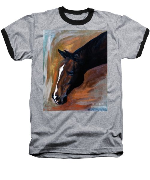 Baseball T-Shirt featuring the painting horse - Apple copper by Go Van Kampen