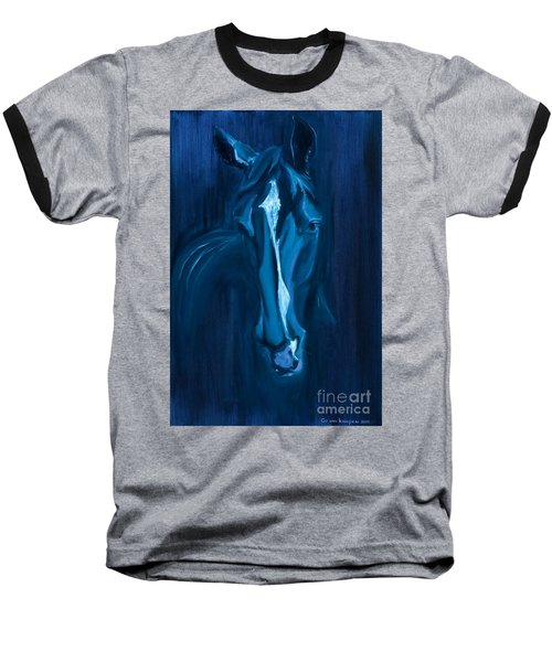 Baseball T-Shirt featuring the painting horse - Apple indigo by Go Van Kampen