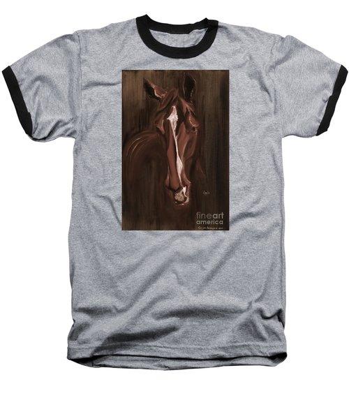 Horse Apple Warm Brown Baseball T-Shirt by Go Van Kampen