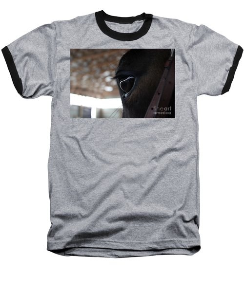 Horse Eye From Behind Baseball T-Shirt