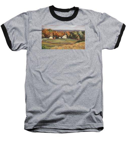 Horse Farm Baseball T-Shirt by Alan Mager