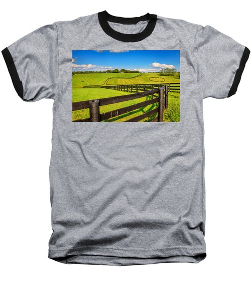 Horse Farm Fences Baseball T-Shirt by Alexey Stiop