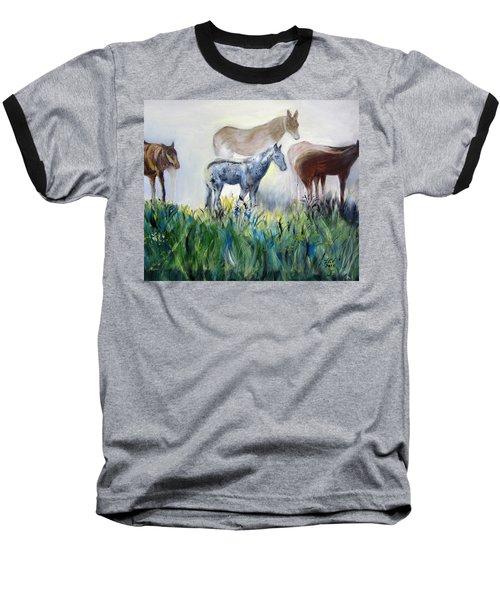 Horses In The Fog Baseball T-Shirt