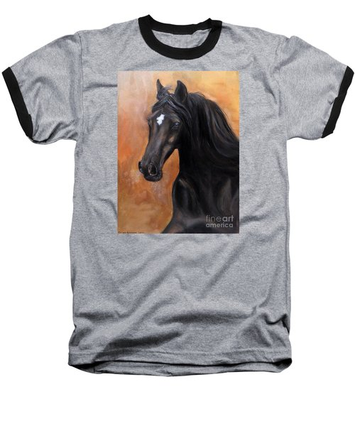 Baseball T-Shirt featuring the painting Horse - Lucky Star by Go Van Kampen