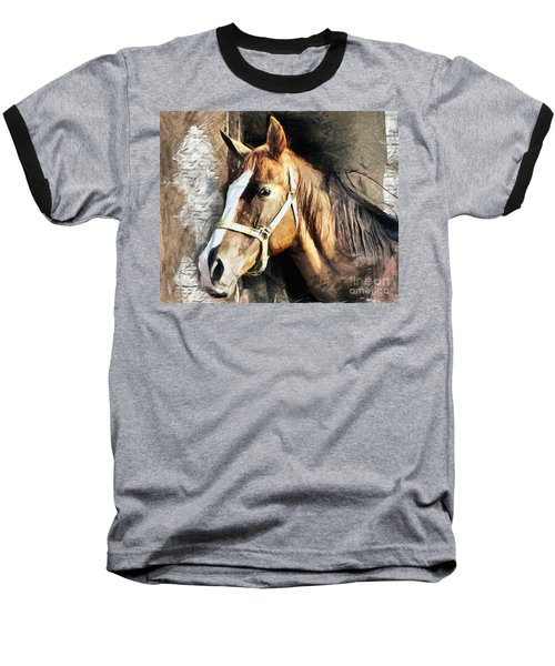 Horse Portrait - Drawing Baseball T-Shirt