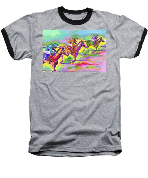 Horse Race  Three Baseball T-Shirt by Mary Armstrong