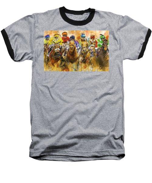 Horse Racing Abstract Baseball T-Shirt