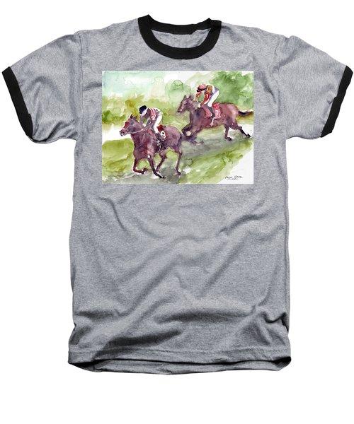 Baseball T-Shirt featuring the painting Horse Racing by Faruk Koksal