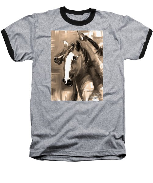 Baseball T-Shirt featuring the painting Horse Together 1 Sepia by Go Van Kampen