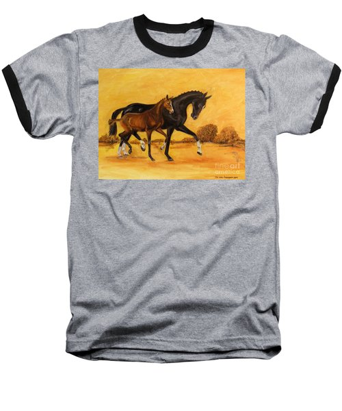 Baseball T-Shirt featuring the painting Horse - Together 2 by Go Van Kampen