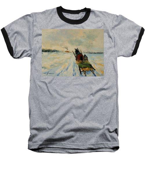 Horse With Sleigh Baseball T-Shirt