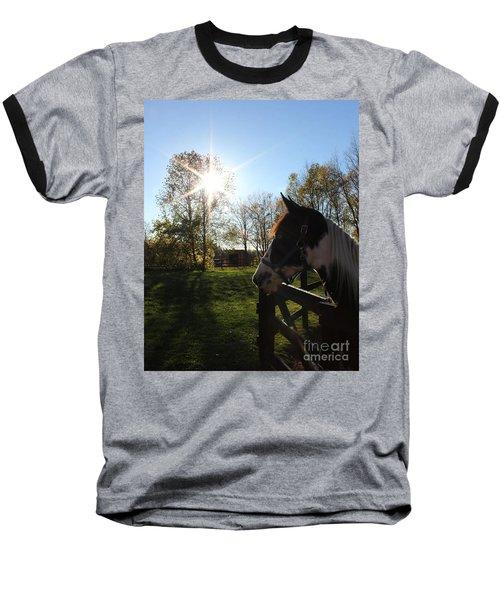 Horse With Sunburst Baseball T-Shirt