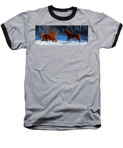 Horses At Play Baseball T-Shirt