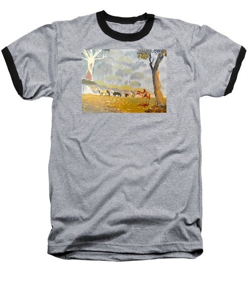 Horses Drinking In The Early Morning Mist Baseball T-Shirt