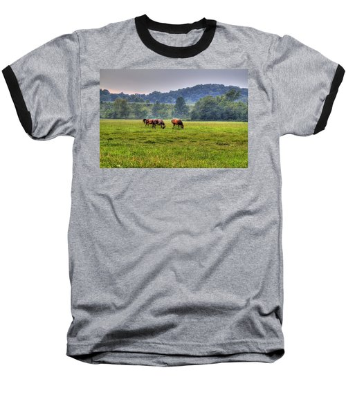 Horses In A Field 2 Baseball T-Shirt