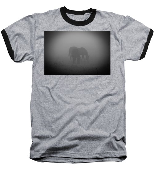 Baseball T-Shirt featuring the photograph Horses In The Mist. by Cheryl Baxter